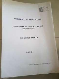 Principles of Accounting Lecture Notes - UOL