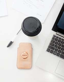 MIMCO Soft pink leather phone case with rose gold badge.