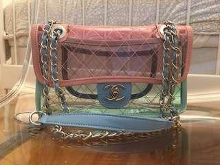 Chanel Transparent PVC Flap Bag - Pink and Blue