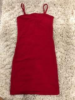 Strappy red mini dress