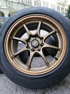 Ce28 15 inch sports rim myvi 2018 tyre 90%. Rim baru + 2nd tyre