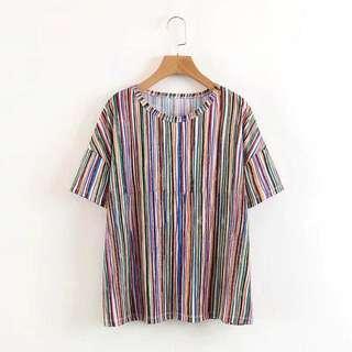 🚚 Zara 同款彩虹條紋寬鬆上衣
