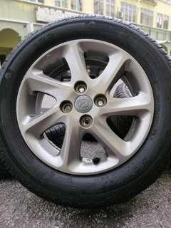 Original sports rim myvi se 14 inch tyre 80%