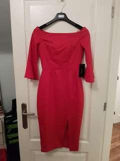Zara BNWT red dress with slit, size XS