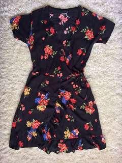 Ruffle Floral Wrap around dress