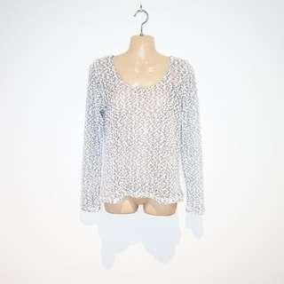 ALLY - Size XS - Grey and White Knitted Jumper