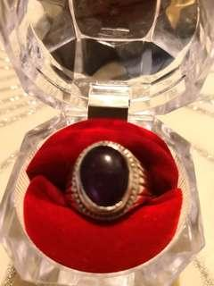 Amethyst stone with silver ring.