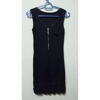 BN Pocket Front Slim Black Dress