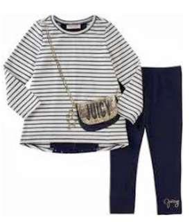 Authentic Juicy Couture Striped Tee & Leggings Set