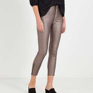 Size 8 Metallic Brown Bronze Skinny Jeans