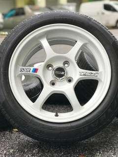 Ssr type c sports rim saga flx 15 inch tyre 70%