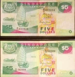 💥Fancy Numbers💥Ship Series $5 Notes with Serial Numbers B/30 83'38'38 & A/55 38' 2888 in Circulated Condition
