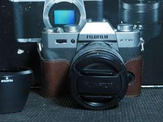 Kamera mirrorless Fujilm XT10 lensa 16-50mm bonus half case GARIZ
