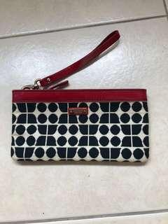 BRAND NEW Kate Spade Black and White Accent with Red Leather Trimming Clutch