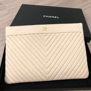 Chanel Chevron O-Case in Light Pink GHW