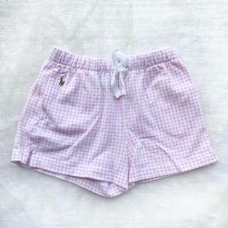 🚚 RL POLO 女童粉紅格紋短褲 🎈4/4t🎈 九五新