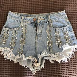 Denim ring shorts