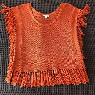 Orange knit poncho