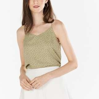 TCL MERINE DOTTED TWO WAY TOP IN SAGE GREEN