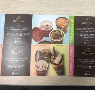 Godiva Vouchers 雪糕禮券及優惠券 (一套四張,其中一張可免費換雪糕一杯)