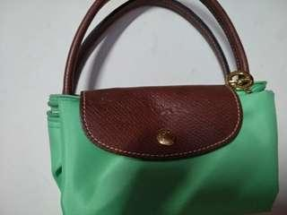 Longchamp Le Pilage Small Short Handle in Green