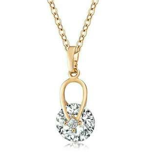 🚚 Elegant Gold Plated Round Zircon Crystal 18K Gold Necklace