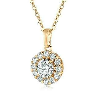 🚚 Luxury Gold Plated Shiny Zircon Crystal 18K Gold  Necklace