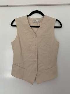 Beige Button Up Vest