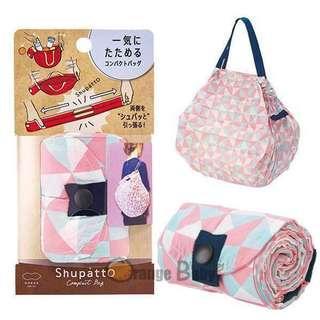 marna shupatto 日本一拉快速收納購物袋 環保袋 medium 中號 粉紅幾何 媽媽袋 奶粉袋 走佬袋