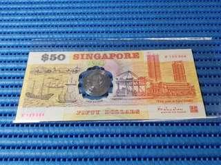 1990 Singapore 25th Anniversary SG25 $50 Commemorative Note B 105364