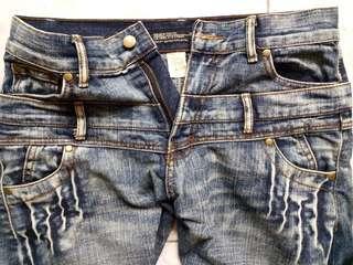 Denim HQ Jeans Double pants低腰双褲頭洗水 双腰3D牛