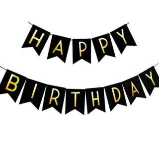 Clearance! HAPPY BIRTHDAY banner in black and gold wordings