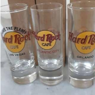 HARD ROCK CAFE SHOT GLASS LAS VEGAS, ATLANTIC CITY, ORLANDO RM50 EACH NEW