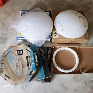 [USED] 2 PCS ROUND CEILING LIGHT WHITE + TUBE ALL IN
