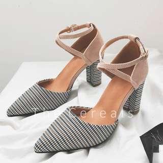 TC3035 Korea Plaid Sling Strap Heels (Beige,Black)