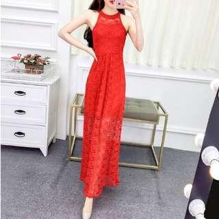 Red Lace Maxi Dress sz8