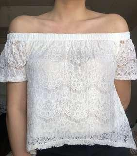 Pre-loved White Off Shoulder Top