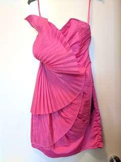 Hot Pink Strapless Fan Dress