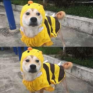 BN Rainy Weather Pets Dogs Bee Waterproof Raincoat Poncho with Hood!