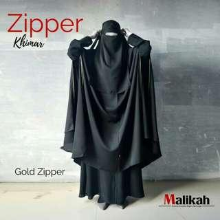 Gold zipper khimar by abaya malikah