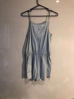 seed heritage baby blue romper size 10-12