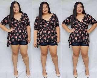 PLUS SIZE OVERLAPPED TOP