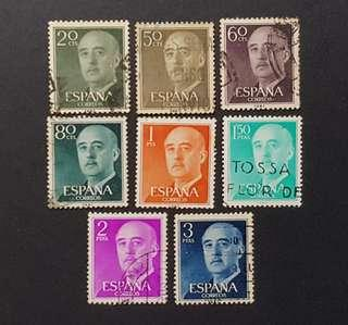 Spain vintage 1955 stamps Gen Franco 8v