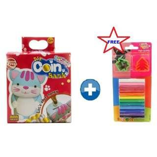 KIDDY CLAY LIGHT WEIGHT AIR DRY CLAY DIY COIN BANK - CAT