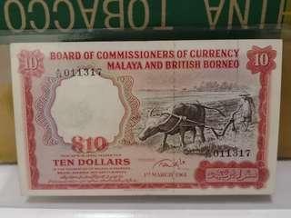 🐂🐂Malaya British Borneo : 1961 $10