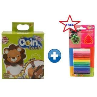 KIDDY CLAY LIGHT WEIGHT AIR DRY CLAY DIY COIN BANK - LION