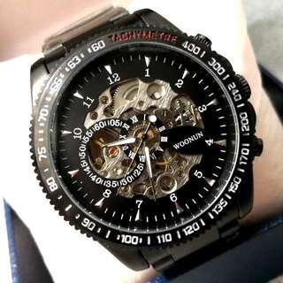 全自動黑鋼機械陀飛輪鋼帶手錶 Original Brand New Automatic Black Steel Mechanical Tourbillon Stainless Steel Watch
