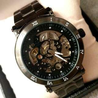全自動黑鋼陀飛輪機械鋼帶手錶 Original Brand New Automatic Black Steel Tourbillon Mechanical Steel Watch