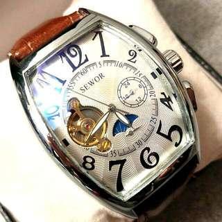 全自動機械銀鋼日月星晨陀飛輪真皮手錶 Original Brand New Automatic Mechanical Silver Steel Sun and the Moon Tourbillon Genuine Leather Watch