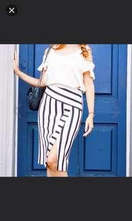 Topshop Black and White Detailed Midi Skirt (Reduced Price)